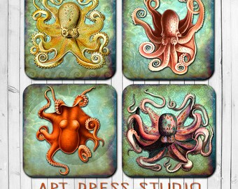 Octopus Coasters, Vintage Steampunk Octopus Coasters, Cork Back Coasters