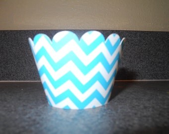 Blue Chevron Cupcake Wrapper  Set of 12  Aqua  Blue