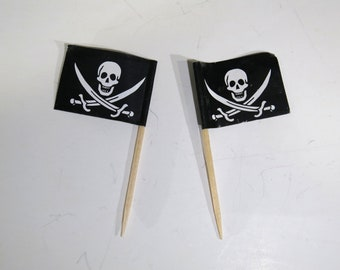 """50pc """"pirate flag"""" tooth pick / cake topper (D58)"""