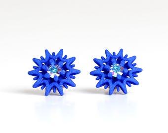 Star Stud Earrings blue with Crystal, blue stud earrings, blue gift idea, geometrical stud, statement studs, royal blue jewelry