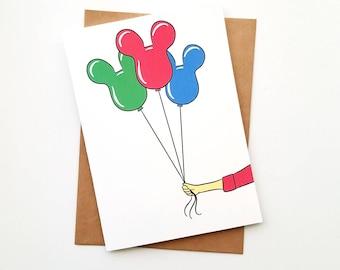 Birthday Mickey Balloons Greeting Card | Blank 5x7 Card | Disneyland | Disney Party | Disney Birthday