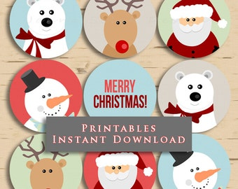 Christmas Printable Cupcake Toppers Holiday Party Cute Christmas 2.5 Inch Gift Tags DIY INSTANT DOWNLOAD