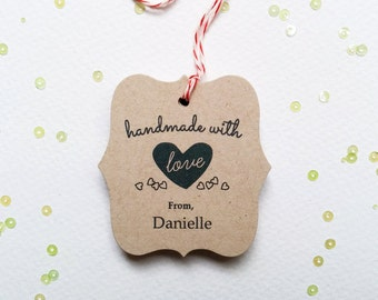 Kraft Handmade With Love Tags - Customized favor tags - Holiday Handmade tags - Gift Tags for crafters (TM-08k)