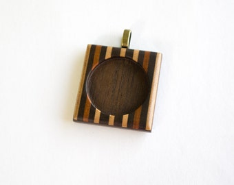 Fine marquetry pendant blank setting finished - 30 mm - Brass Bail - (F353-X)