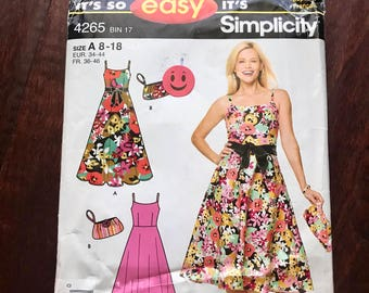 Simplicity #4265 Sewing Pattern Misses or Petite 8-18 Retro Pattern w Bow Front Flared Skirt Clutch Bag fitted bodice straps chic NEW UNCUT
