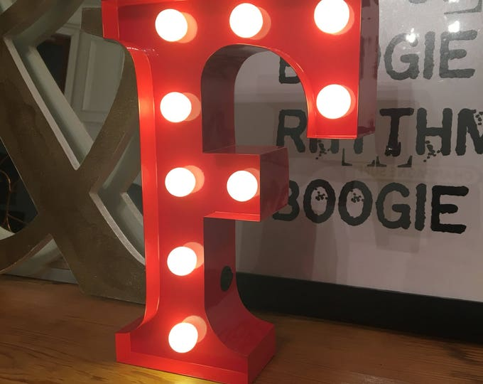 Vintage Carnival Style Marquee Light, Light up Letter F - Battery Operated