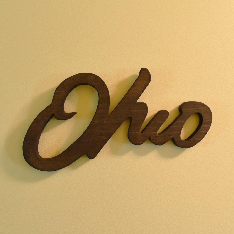Ohio Script Wall Art Handmade Wooden Ohio Sign Ohio Script