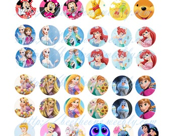 Digital Collage Mix Disney (Minnie, Marie, Princess, Dory...) 3 sheets 108 images 1 inch Cabochon Bottlecap Printable Image clipart Download