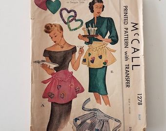 1940s Sewing Pattern for Apron with Heart Applique - Half Apron Sewing Pattern - One Size - McCall 1278