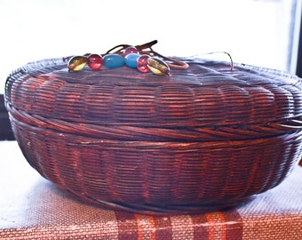 Antique Sewing Basket, Beaded Basket