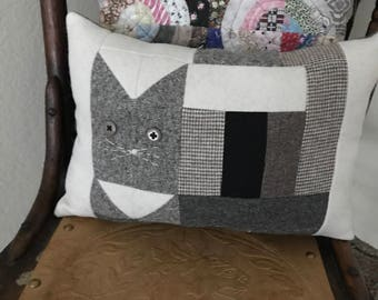 Decorative Cat Pillow Primitive wool grey gray cat  Eco friendly upcycled