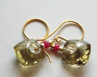 40% Off Natural Lemon Quartz Fancy Cut Gemstone Earrings with Pink Sapphire on 24k Gold Vermeil Gift for Her
