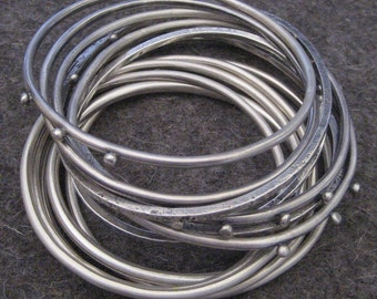 Sterling Silver Bangle Bracelets Stack of Nine Bangles