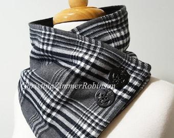 Black and White Tartan Plaid Neck Warmer, Scarf, Neck Wrap, Collar, Snood, Neckwarmer, with Black Anchor Buttons, Black Fleece, Snap
