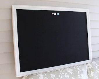 WEDDING CHALKBOARD Extra Large Magnetic Board - Framed Blackboard Memo Board - Deluxe Size with Handmade Frame and Vintage Button Magnets