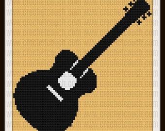 Guitar C2C Graph, Guitar Afghan, Guitar Corner to Corner, Guitar Crochet Pattern