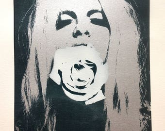 Rose Girl A2 Limited Edition Hand Pulled Screen Print Metallic Silver Flower Framed Art