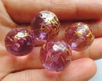 6 Pcs  Dark Purple Drawbench faceted Acrylic Beads - Gold Veining 18mm (S105)