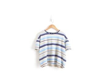 Vintage Striped Shirt Cropped Stripe TShirt Navy Pastel Blue Beige Striped T Shirt Ringer Tee 90s Aesthetic Grunge Shirt Womens Large XL 2XL