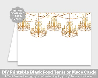 Gold Party Food Tents, Gold Chandelier Blank Place Cards, Printable Buffet Cards, Blank Food Tent Party Decorations, Instant Download - PP8