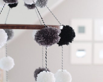 Handmade Pom Pom Mobile with Stained Wooden Hoop