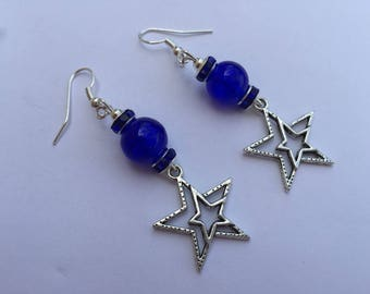 Blue earrings with star ref 523