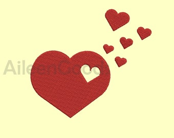 Heart  Embroidery  design 6 Size  INSTANT download machine embroidery