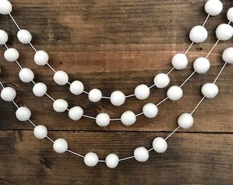 White As Snow Felt Ball Garland, White Felt Pom Garland