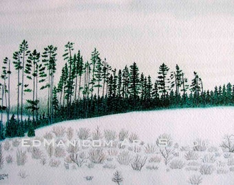 Field of Winter Dreams 6X9 Archival Giclée Print of Gouache, Watercolour Painting. Snow, Forest, Field - SFA (Small format Art)
