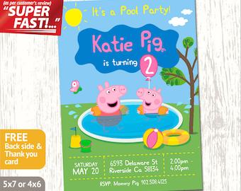 PEPPA PIG POOL Party Invitation, Peppa Pig Invitation, Peppa Pig Birthday Card, Peppa Pig Invite, George Pig Invitation, George Invite, v5
