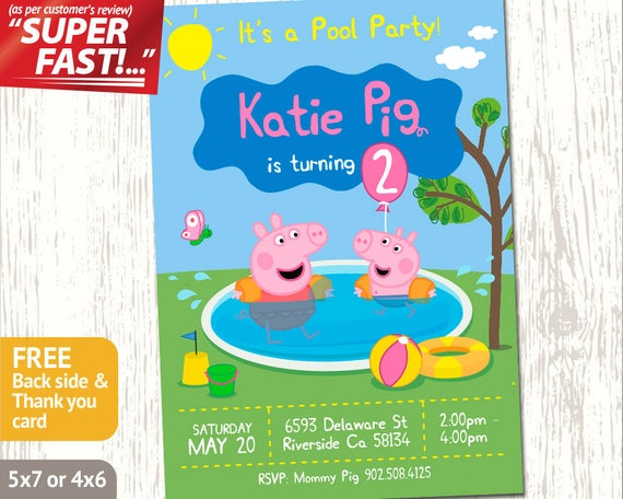 PEPPA PIG POOL Party Invitation Peppa Pig Invitation Peppa