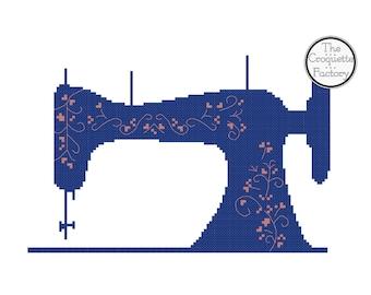 Flower Old Vintage Sewing Machine Cross Stitch Pattern