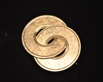 Vintage Signed NAPIER STERLING Vermeil Interlocking Circles Brooch