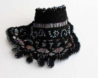 Black Crochet Bracelet, Crochet Cuff, Crochet Beaded Bracelet, Romantic Bracelet, Crochet Jewelry, Beaded Cuff,
