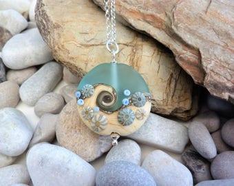 Sea Spray, handmade glass bead, extra large lentil pendant, by Beach Art Glass in the UK