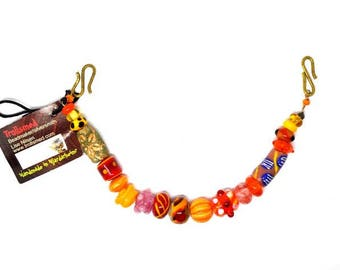 Handmade glass beads, Orange and pink Viking necklace for apron dress.