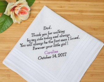 Father of the Bride handkerchief for Dad. Custom Handkerchief for Father. Personalized Handkerchief for wedding gift. Embroidered Hankie