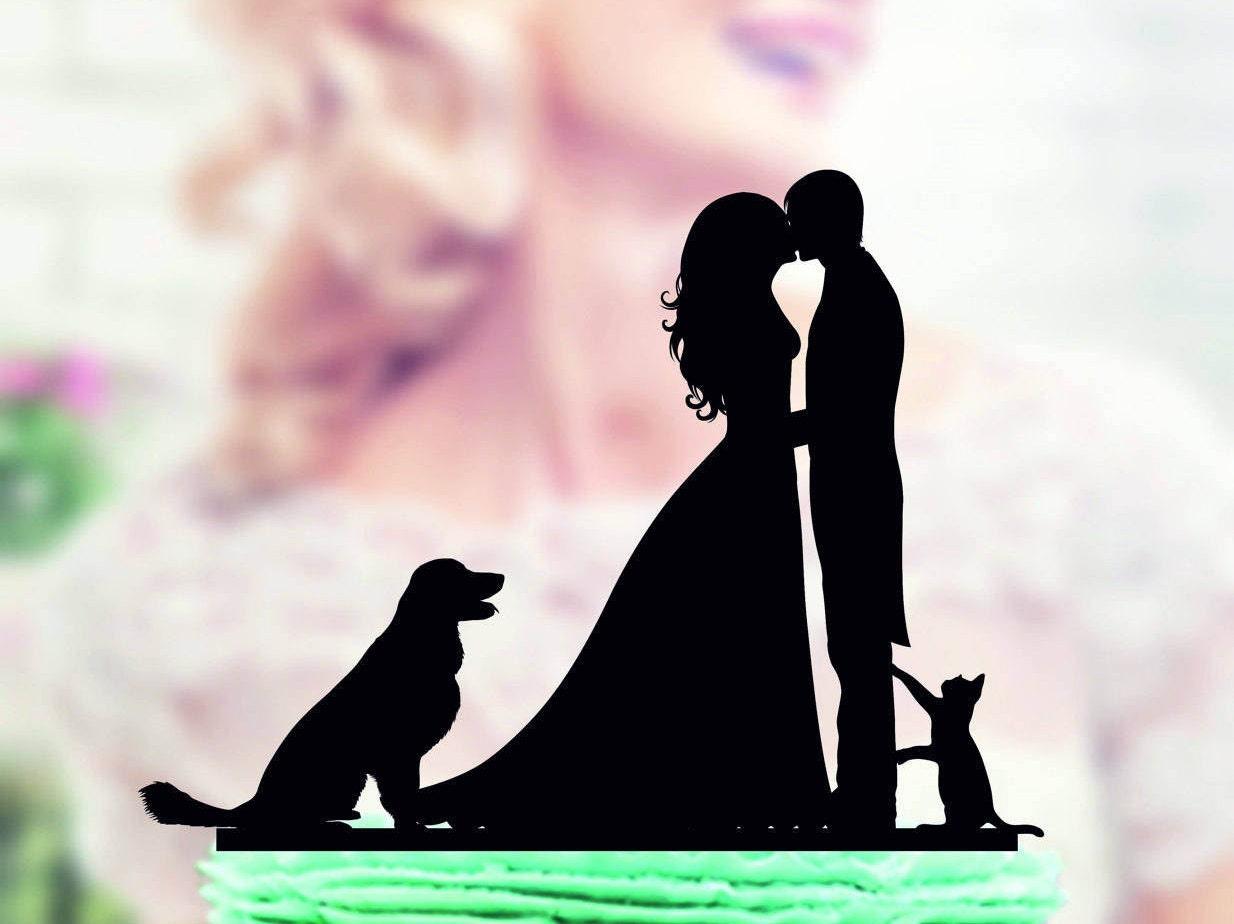 Torta de bodas con perro gato par de topper de la torta con