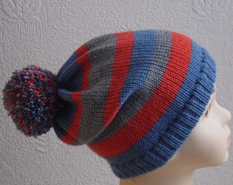 toddler boy pompom hat, boys ski hats, infant boy bobble beanie, knit boy's hat, knitted skiing hat, winter hat, CHOOSE SIZE and COLOURS