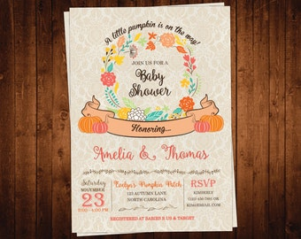 Pumpkin Baby Shower Invitation, Rustic Fall Baby Shower Invite, Autumn Shower