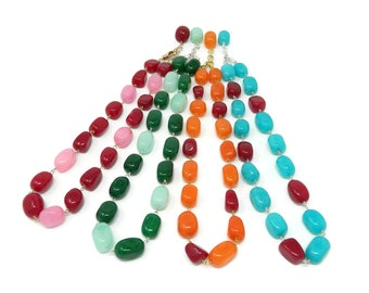 Fashion choker necklace jade stones vaious colors