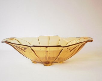 Vintage Amber Glass Centrepiece Bowl, Decorative Serving Bowl, Art Deco Depression Glass, Pressed Glass,Collectable Glass, Sowerby Chevron.