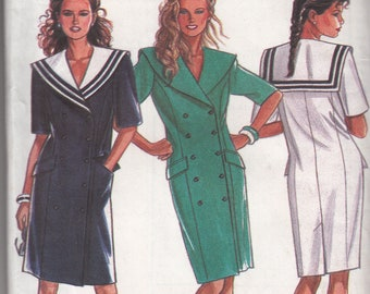 UNCUT Vintage New Look 6532 Size 6-18 Sailor Dress Double Breasted Coat Sewing Pattern