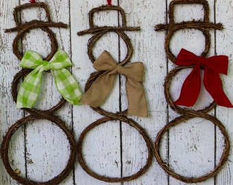 Christmas Wreath - Twig Snowman Wreath - Grapevine Snowman Wreath - Holiday Wreath