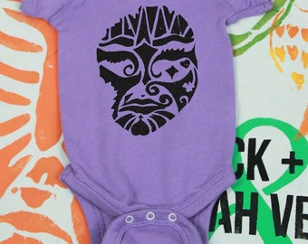 Mask Hand Stenciled baby infant Onesie