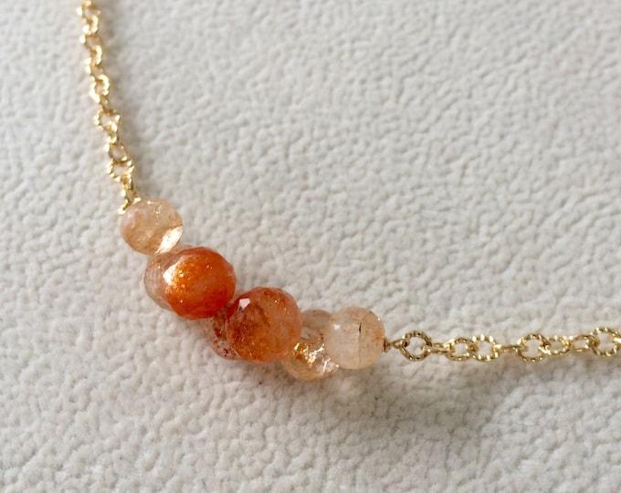 Semiprecious Orange Sunstone Bead Bar Choker Necklace in Gold Fill Chain
