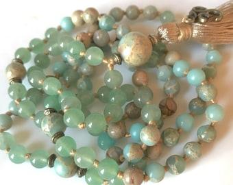 Aqua Terra Jasper African Opal Mala Necklace, 108 Mala Beads, Meditation Beads, Yoga Mala, Buddhist Mala Prayer Bead, Heart Chakra Mala