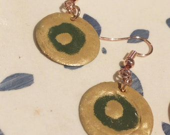 Olive and Gold Enamelled Dangle Earrings | Handmade Jewellery | Unique Accessories | One of a Kind Gifts
