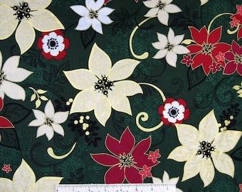 Christmas Spectacular Fabric - Metallic Poinsettias Green - Benartex YARD