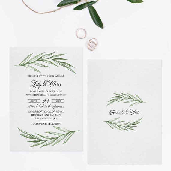 Watercolor greenery wedding invitations, Eucalyptus wedding invitations, Garden Wedding invites, Wedding invitations green leaves, A5